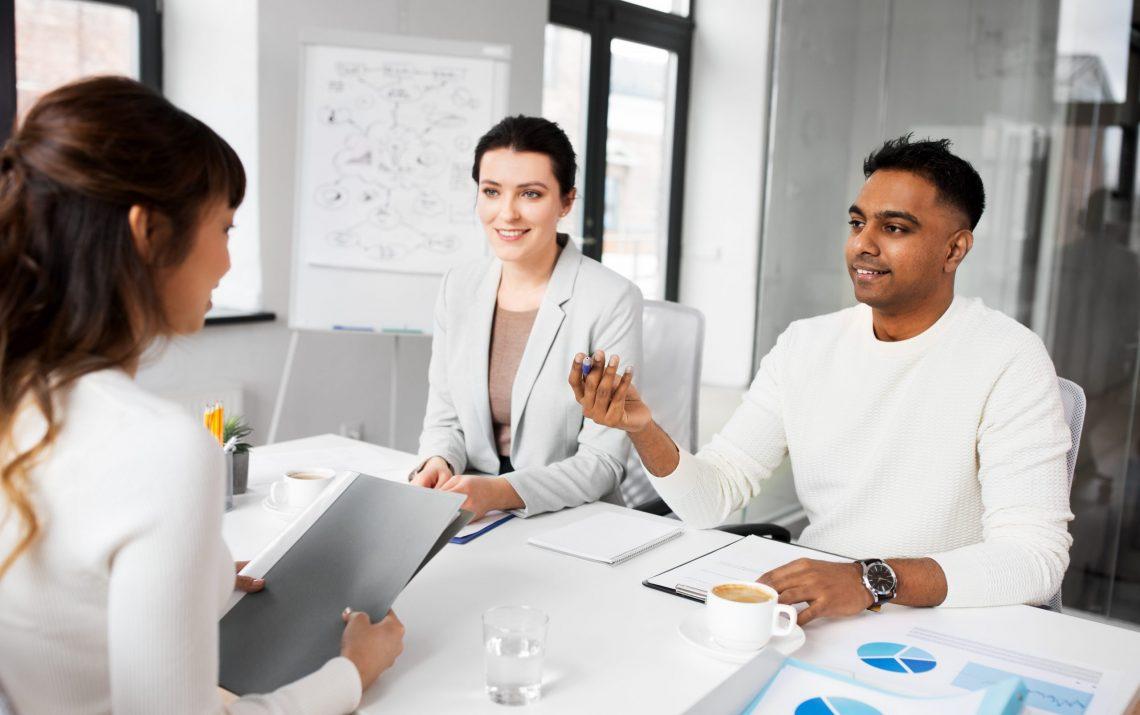 new job, hiring and employment concept - international team of r